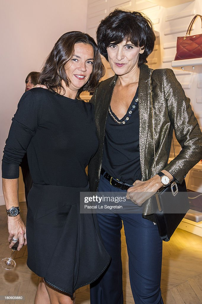 Ines de la Fressange and Sabine Brunner General Manager of Roger Vivier attend the Vogue Fashion Night Out at boutique Roger Vivier on Faubourg...