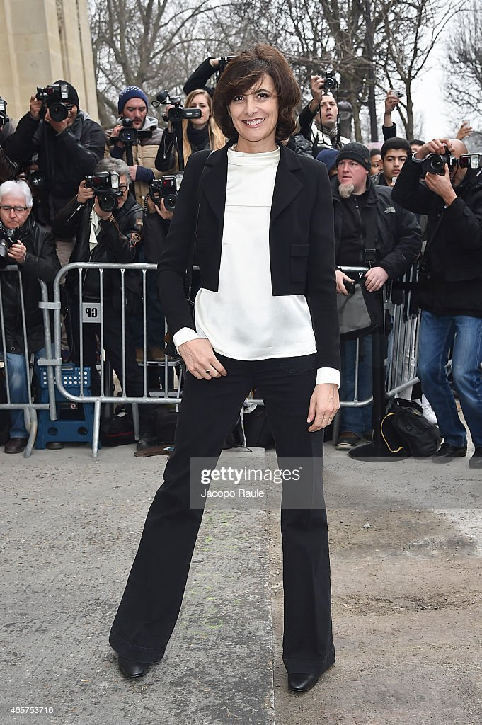 Ines de la Fressange arrives at Chanel Fashion Show during Paris Fashion Week Fall Winter 2015/2016 on March 10 2015 in Paris France