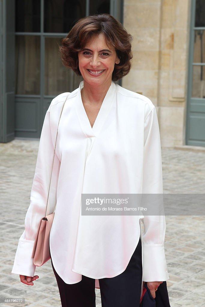 Ines de La Fressange arrives at Schiaparelli show as part of Paris Fashion Week Haute Couture Fall/Winter 20142015 at on July 7 2014 in Paris France
