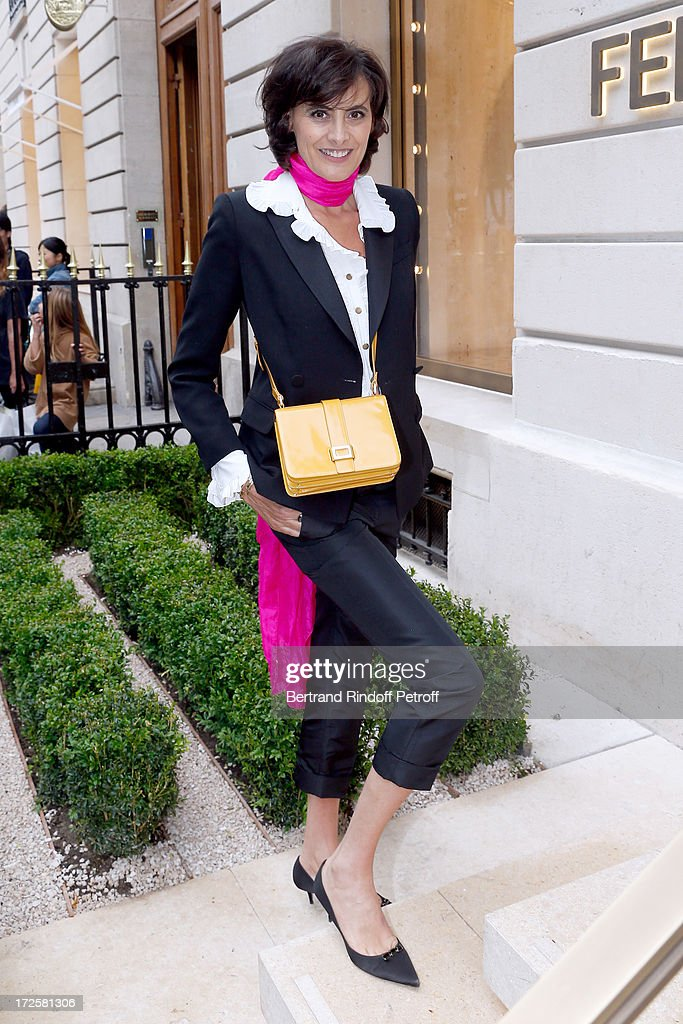 Ines de la Fressange attends the Avenue Montaigne Fendi new shop opening party which will be followeed by 'The Glory Of Water' Karl Lagerfeld's...