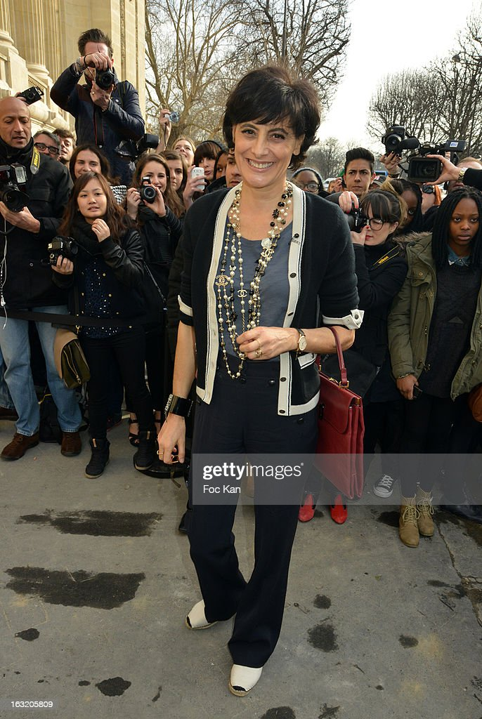 Ines de La Fressange attends the Chanel Fall/Winter 2013 Ready-to-Wear show as part of Paris Fashion Week at the Grand Palais on March 5, 2013 in Paris, France.