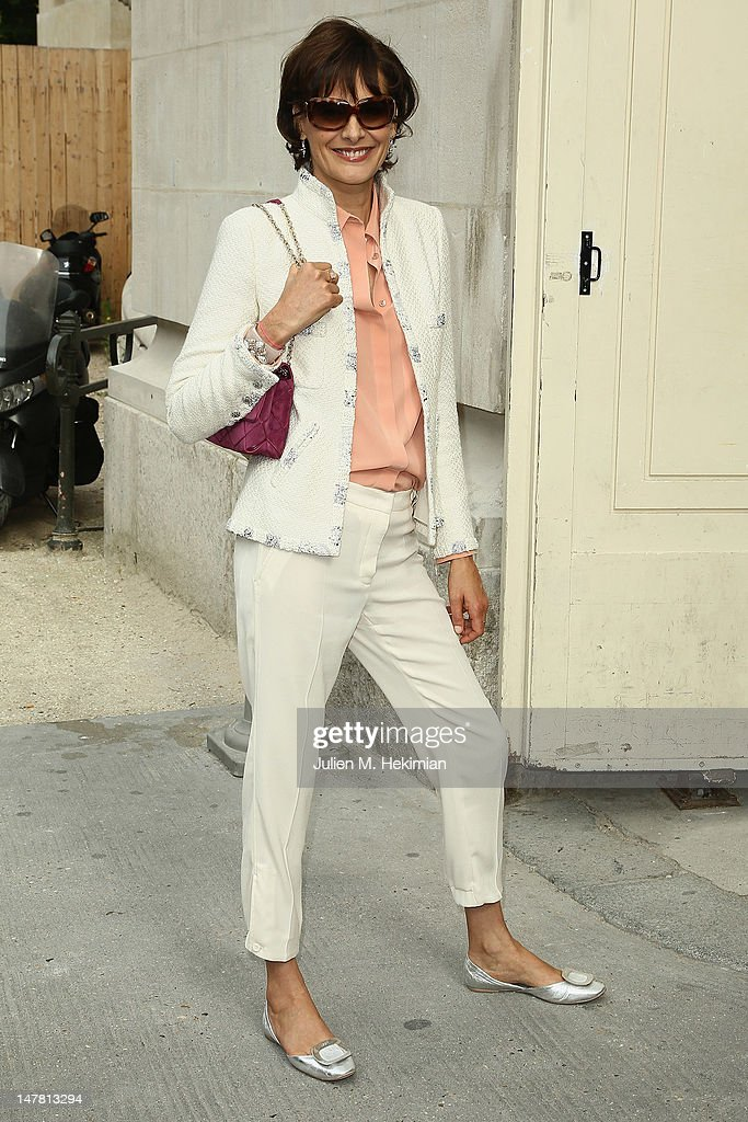 Ines de la fressange attends the Chanel Haute-Couture Show as part of Paris Fashion Week Fall / Winter 2012/13 at Grand Palais on July 3, 2012 in Paris, France.