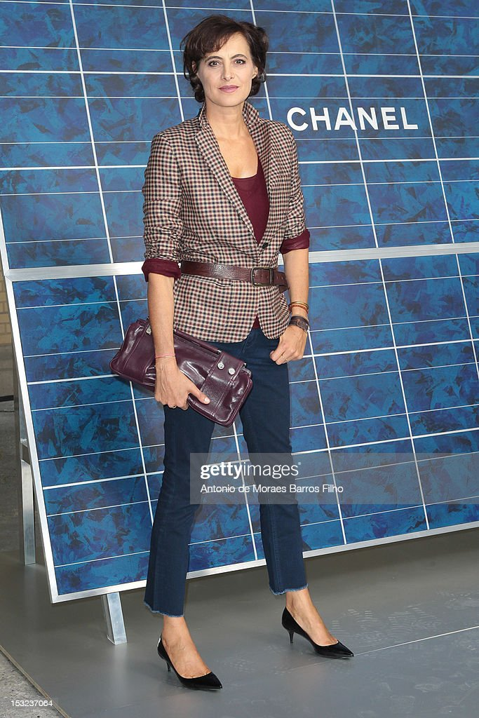 Ines de la Fressange attends the Chanel Spring / Summer 2013 show as part of Paris Fashion Week at Grand Palais on October 2, 2012 in Paris, France.