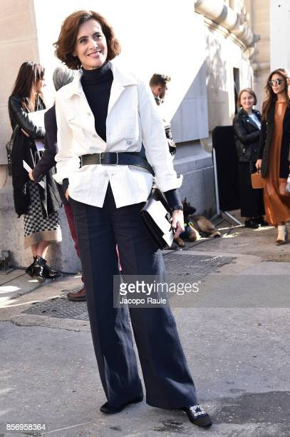 Ines de la Fressange is seen arriving at Chanel show during Paris Fashion Week Womenswear Spring/Summer 2018on October 3 2017 in Paris France