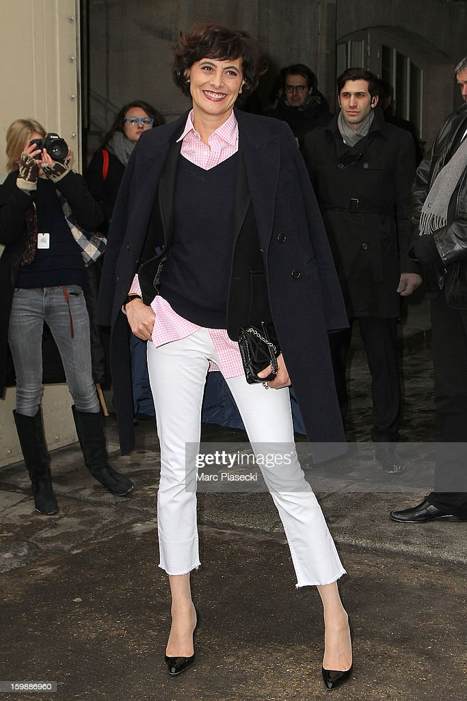 Ines de la Fressange is seen arriving at the the Chanel Spring/Summer 2013 Haute-Couture show as part of Paris Fashion Week at Grand Palais on January 22, 2013 in Paris, France.