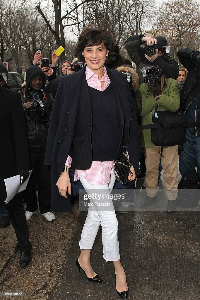 Ines de la Fressange leaves the Chanel Spring/Summer 2013 Haute-Couture show as part of Paris Fashion Week at Grand Palais on January 22, 2013 in Paris, France.