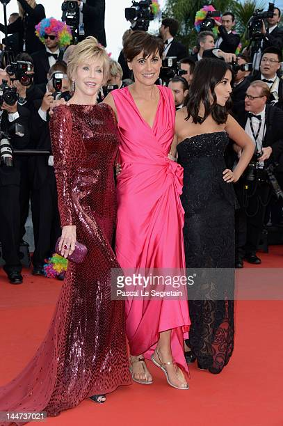 Ines de la Fressange Leila Bekhti and actress Jane Fonda attend the 'Madagascar 3 Europe's Most Wanted' Premiere during the 65th Annual Cannes Film...