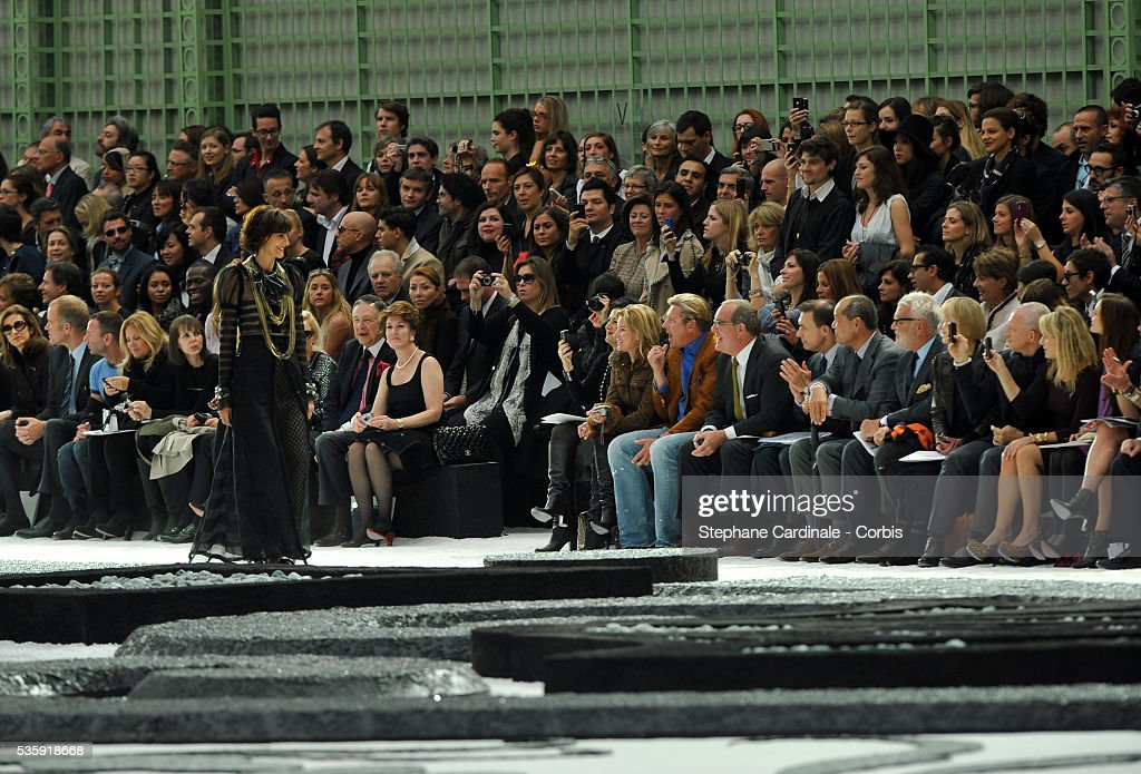 Ines De La Fressange on the runway at the Chanel show as part of Paris Fashion Week Spring/Summer 2011 at the 'Grand Palais' in Paris.