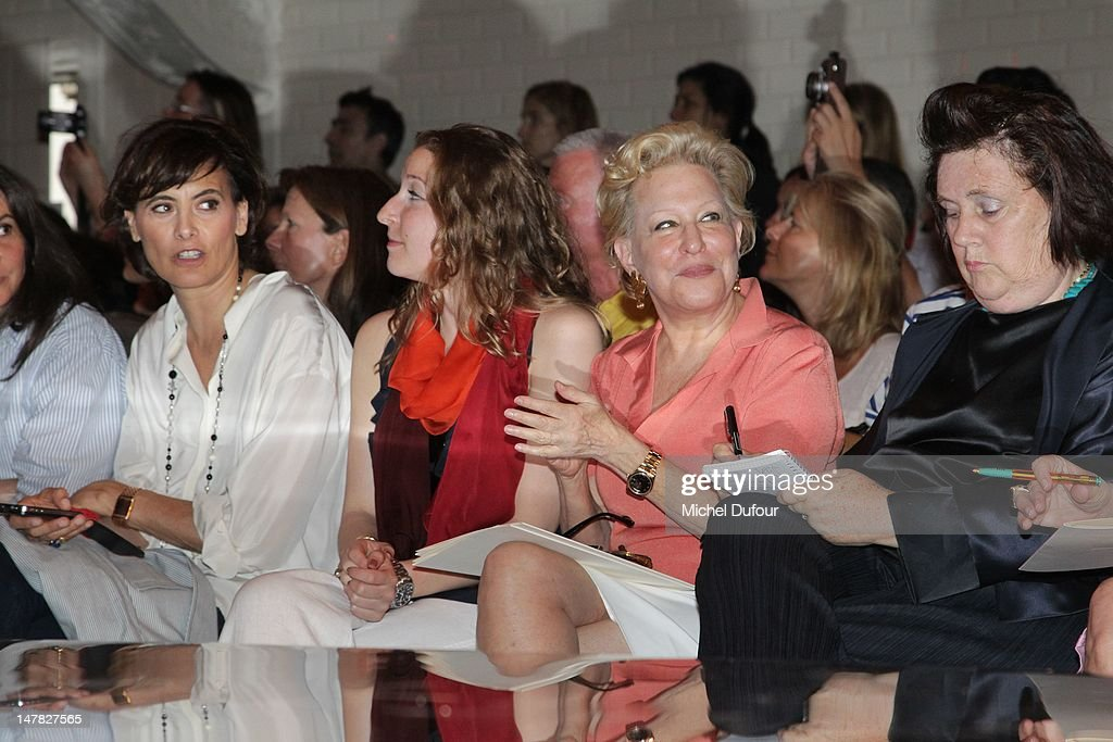 <a gi-track='captionPersonalityLinkClicked' href=/galleries/search?phrase=Ines+de+la+Fressange&family=editorial&specificpeople=2078500 ng-click='$event.stopPropagation()'>Ines de la Fressange</a>, Sophie von Haselberg, <a gi-track='captionPersonalityLinkClicked' href=/galleries/search?phrase=Bette+Midler&family=editorial&specificpeople=201551 ng-click='$event.stopPropagation()'>Bette Midler</a> and <a gi-track='captionPersonalityLinkClicked' href=/galleries/search?phrase=Suzy+Menkes&family=editorial&specificpeople=816435 ng-click='$event.stopPropagation()'>Suzy Menkes</a> attend the Jean-Paul Gaultier Haute-Couture Show as part of Paris Fashion Week Fall / Winter 2013 on July 4, 2012 in Paris, France.