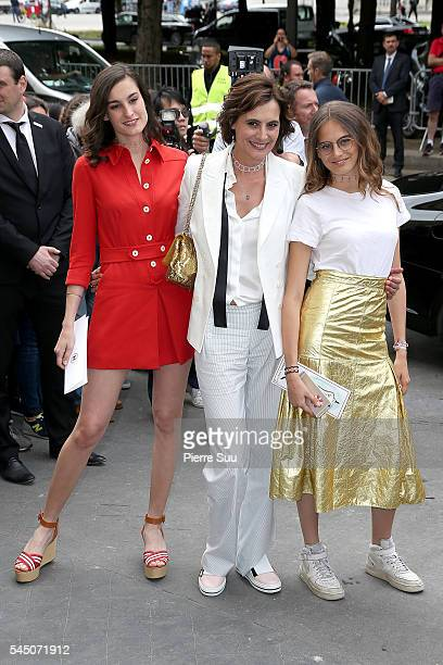 Ines de la Fressange with daughters Nine d'Urso and Violette d'Urso arrive at the Chanel Haute Couture Fall/Winter 20162017 show as part of Paris...