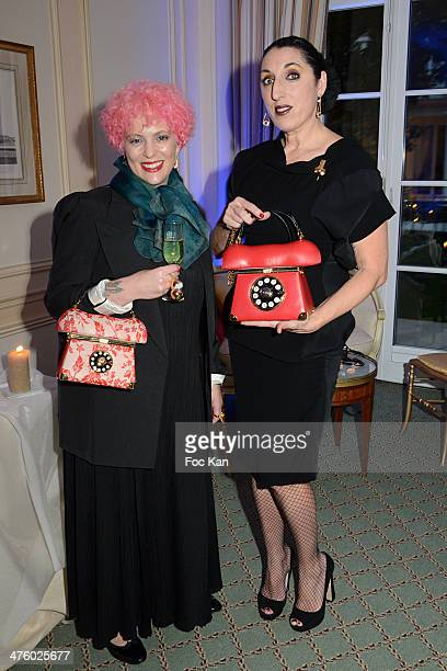 Ines Figaredo and Rossy de Palma pose during the Ines Figaredo Bags Exhibition Launch Cocktail Show as part of the Paris Fashion Week Womenswear...