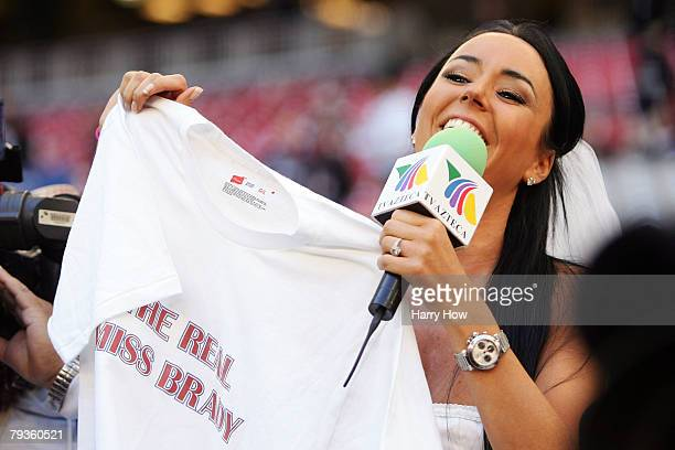 Ines Gomez Mont of TV Azteca asks quarterback Tom Brady of the New England Patriots to marry her during New England Patriots media day for Super Bowl...