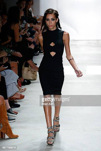 Ines Rau walks the runway at the Nicole Miller fashion show during Spring 2016 New York Fashion Week The Shows at The Gallery Skylight at Clarkson Sq...