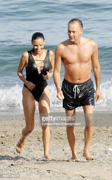 Ines Sastre and Michele Alfano are seen on July 26 2014 in Marbella Spain