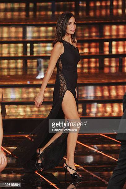 Ines Sastre attends the 2011 Miss Italia beauty pageant at the Palazzetto of Montecatini on September 19 2011 in Montecatini Terme Italy