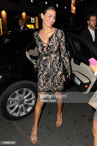Ines Sastre is seen arriving at Pirelli Corso Venezia Flagship Store Opening on September 20 2011 in Milan Italy
