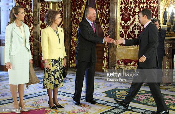 Infant Elena Queen Sofia and the King Juan Carlos I salutes spanish President Jose Luis Rodriguez Zapatero at the Cervates Instutute Fundation on...