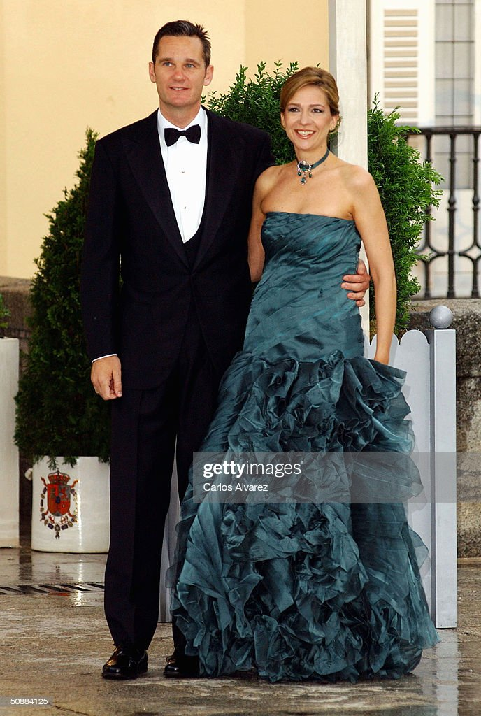 Infanta Cristina of Spain and her husband Inaki Urdangarin arrive to attend a gala dinner at El Pardo Royal Palace on May 21 2004 in Madrid Spain...