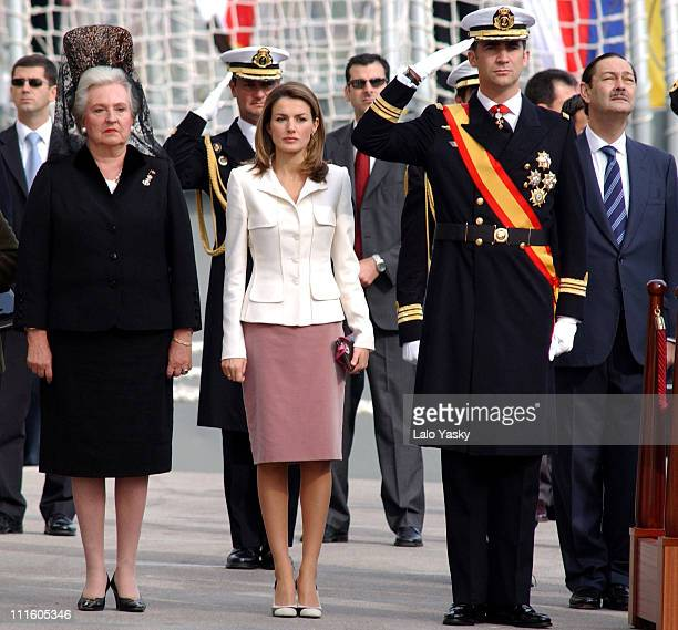 Infanta Pilar Princess Letizia and Prince Felipe during The Spanish Royal Family at the Frigate 'Juan de Borbon' Flag Ceremony at Harbour of...