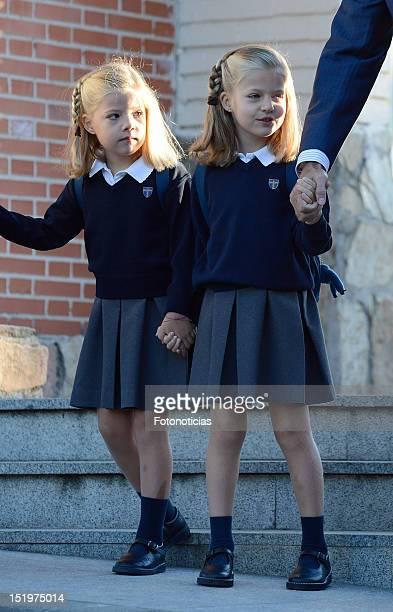 Infanta Sofia of Spain and Infanta Leonor of Spain arrive at 'Santa Maria de los Rosales' School on September 14 2012 in Aravaca near of Madrid Spain
