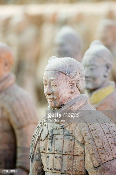 Infantry men figures in Pit 1 at Qin Museum exhibition halls of Terracotta Warriors Xian China