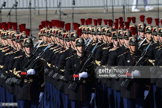 Infantry regiment of the Republican Guard march down the ChampsElysees avenue during the annual Bastille Day militaryon July 14 2017 in Paris France...