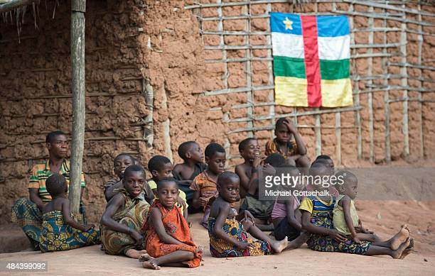 Bayanga Central African Republic March 14 Infants of the indigenous people of the Baaka sit under the flag of the Central African Republic next to a...