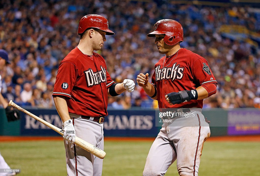 Infielder <a gi-track='captionPersonalityLinkClicked' href=/galleries/search?phrase=Aaron+Hill+-+Baseball+Player&family=editorial&specificpeople=239242 ng-click='$event.stopPropagation()'>Aaron Hill</a> #2 of the Arizona Diamondbacks congratulates <a gi-track='captionPersonalityLinkClicked' href=/galleries/search?phrase=Martin+Prado&family=editorial&specificpeople=620159 ng-click='$event.stopPropagation()'>Martin Prado</a> #14 after he scored a seventh inning run against the Tampa Bay Rays during the game at Tropicana Field on July 31, 2013 in St. Petersburg, Florida.