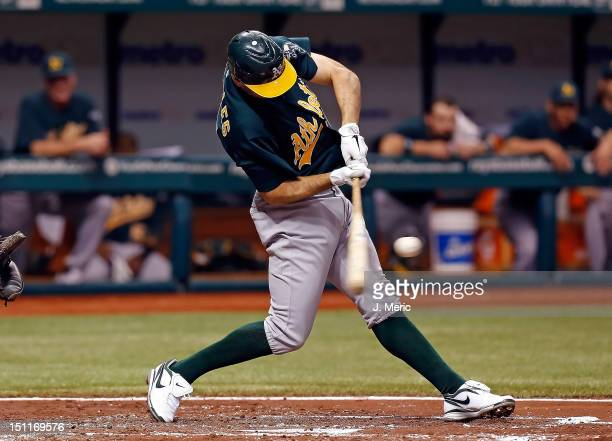 Infielder Adam Rosales of the Oakland Athletics bats against the Tampa Bay Rays during the game at Tropicana Field on August 24 2012 in St Petersburg...