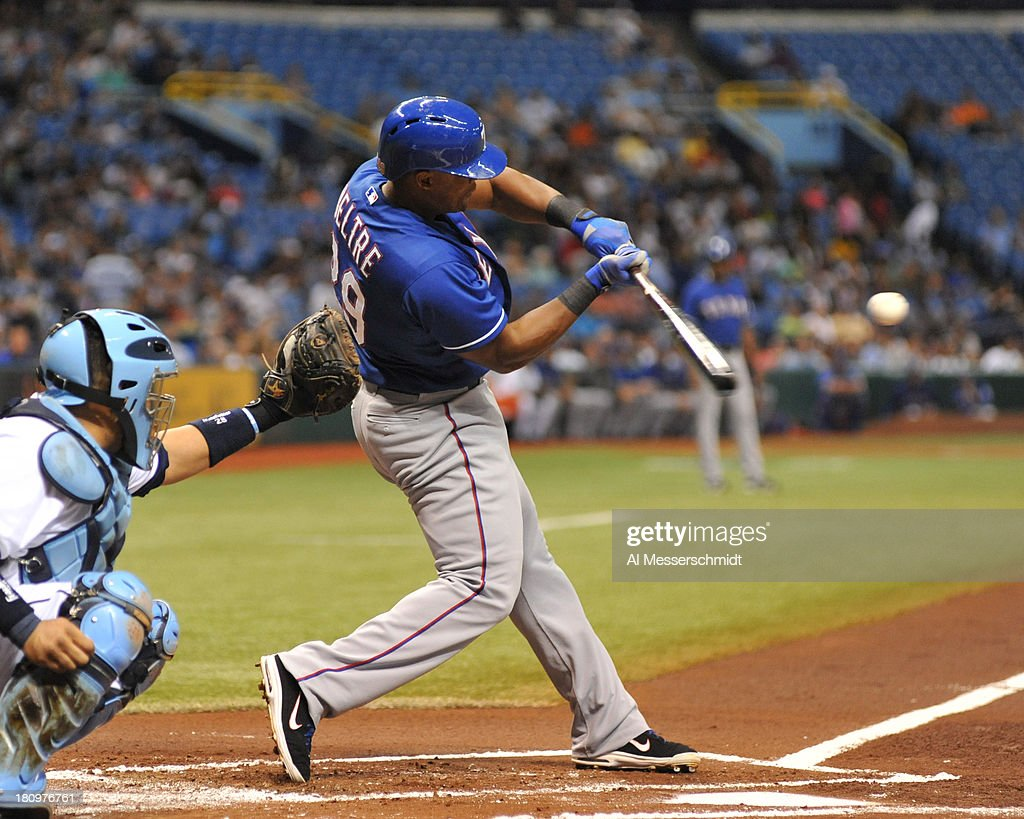 Infielder <a gi-track='captionPersonalityLinkClicked' href=/galleries/search?phrase=Adrian+Beltre&family=editorial&specificpeople=202631 ng-click='$event.stopPropagation()'>Adrian Beltre</a> #29 of the Texas Rangers bats in the 1st inning against the Tampa Bay Rays September 18, 2013 at Tropicana Field in St. Petersburg, Florida.