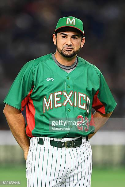 Infielder Adrian Gonzalez of Mexico is introduced prior to the international friendly match between Japan and Mexico at the Tokyo Dome on November 10...