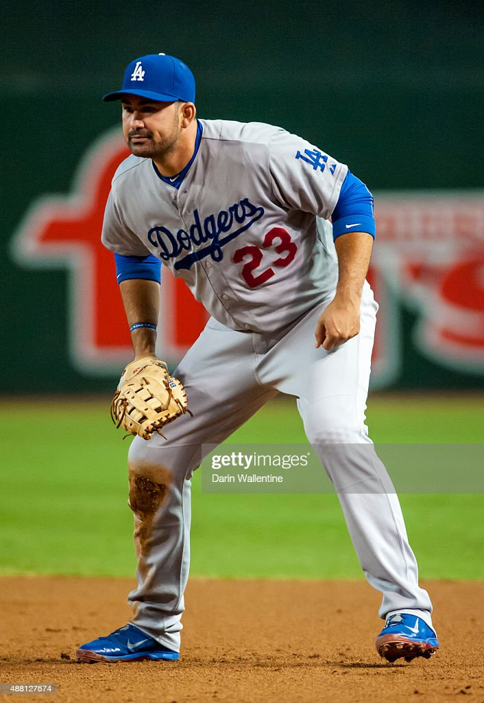 Infielder Adrian Gonzalez of the Los Angeles Dodgers is ready for action against the Arizona Diamondbacks during a MLB game on September 13 2015 at...