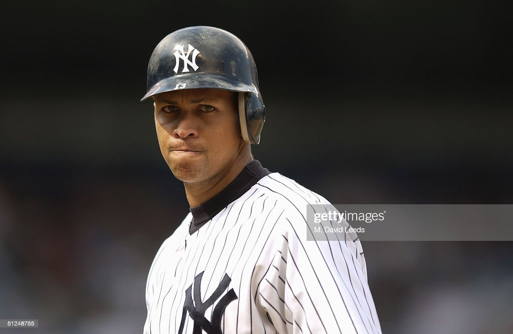Infielder Alex Rodriguez of the New York Yankees stands on the field during the game against the Toronto Blue Jays at Yankee Stadium on August 9 2004...