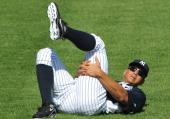 Infielder Alex Rodriguez of the New York Yankees stretches February 18 2009 at the George Steinbrenner complex in Tampa Florida