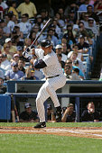 Infielder Alex Rodriguez of the New York Yankees swings at a Cleveland Indians pitch during the game on July 9 2005 at Yankee Stadium in the Bronx...