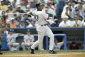 Infielder Alex Rodriguez of the New York Yankees swings at a New York Mets pitch during the game at Yankee Stadium on June 26 2004 in the Bronx New...