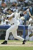 Infielder Alex Rodriguez of the New York Yankees swings at an Anaheim Angels pitch during the game at Yankee Stadium on May 13 2004 in the Bronx New...