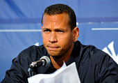 Infielder Alex Rodriguez of the New York Yankees talks during a press conference February 17 2008 at the George M Steinbrenner Field February 17 2009...