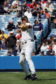 Infielder Alex Rodriguez of the New York Yankees throws the ball against the Boston Red Sox during the game at Yankee Stadium on April 5 2005 in...