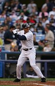 Infielder Alex Rodriguez of the New York Yankees waits for a Toronto Blue Jays pitch during the game on September 30 2006 at Yankee Stadium in the...