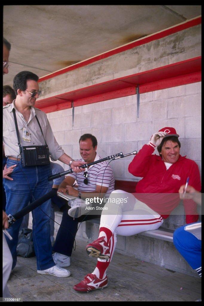 Infielder and designated hitter Pete Rose now a coach of the Cincinnati Reds gives an interview Mandatory Credit Allen Dean Steele/Allsport