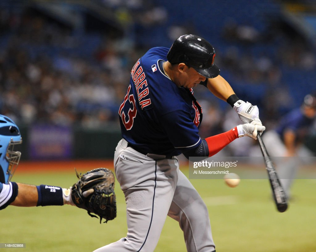 Infielder <a gi-track='captionPersonalityLinkClicked' href=/galleries/search?phrase=Asdrubal+Cabrera&family=editorial&specificpeople=834042 ng-click='$event.stopPropagation()'>Asdrubal Cabrera</a> #13 of the Cleveland Indians strikes out against the Tampa Bay Rays July 16, 2012 at Tropicana Field in St. Petersburg, Florida.