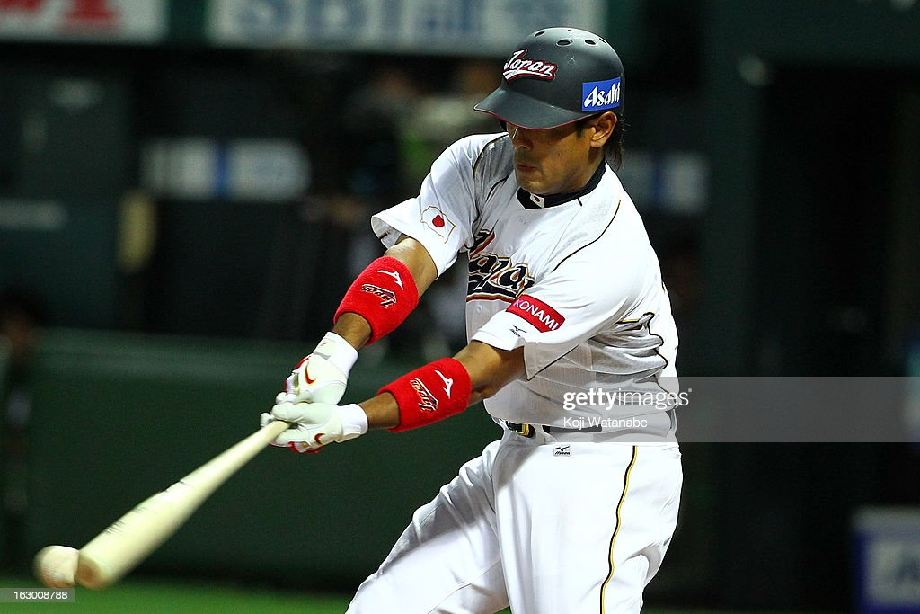 Infielder <a gi-track='captionPersonalityLinkClicked' href=/galleries/search?phrase=Atsunori+Inaba&family=editorial&specificpeople=4009767 ng-click='$event.stopPropagation()'>Atsunori Inaba</a> #41 of Japan at bat during the World Baseball Classic First Round Group A game between Japan and China at Fukuoka Yahoo! Japan Dome on March 3, 2013 in Fukuoka, Japan.