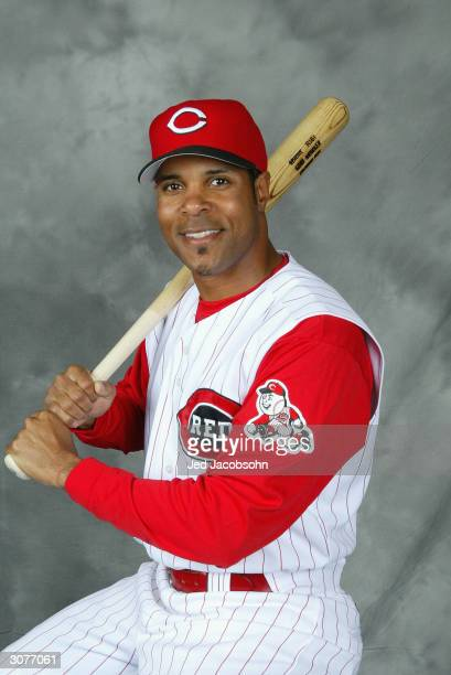 Infielder Barry Larkin of the Cincinnati Reds poses for a portrait during Reds Photo Day on February 26 2004 in Sarasota Florida