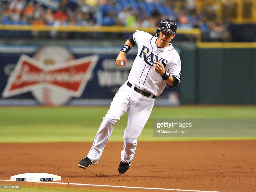 Infielder Ben Zobrist #18 of the Tampa Bay Rays rounds 3rd base and scores in the 1st inning against the Baltimore Orioles September 20, 2013 at Tropicana Field in St. Petersburg, Florida.