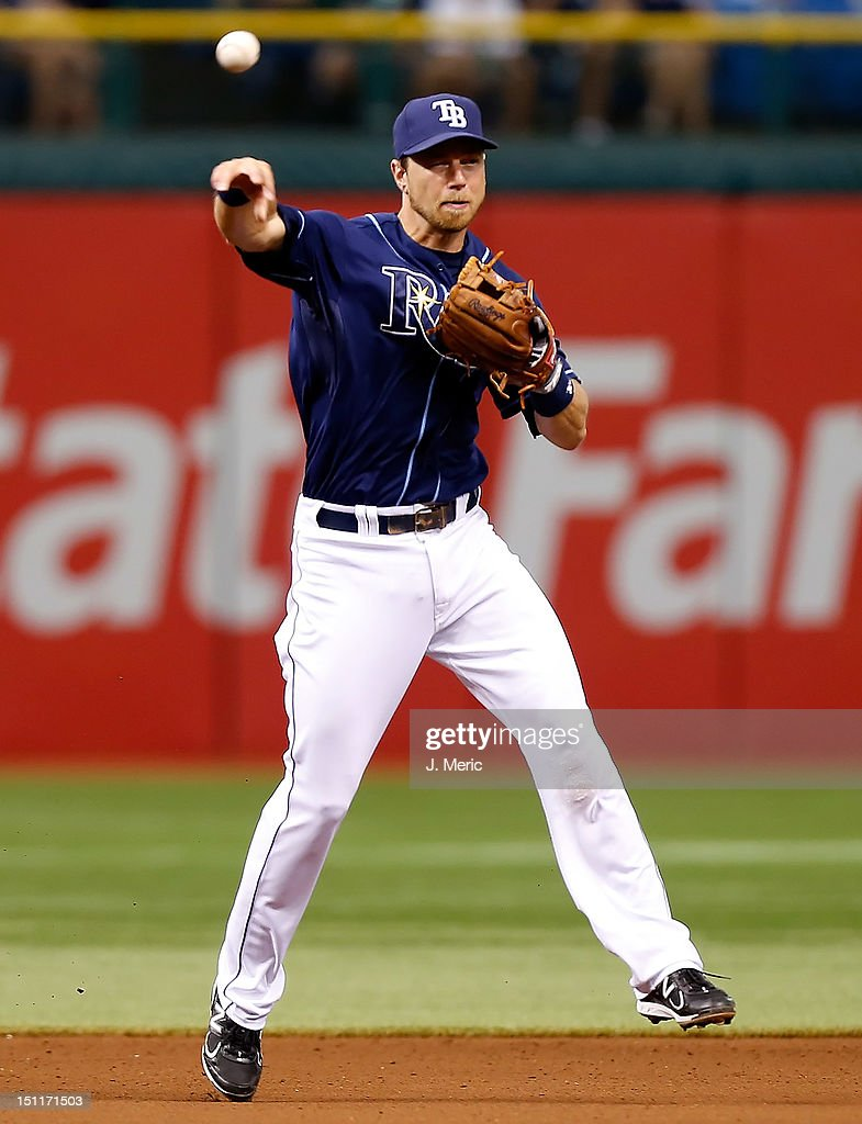 Infielder <a gi-track='captionPersonalityLinkClicked' href=/galleries/search?phrase=Ben+Zobrist&family=editorial&specificpeople=2120037 ng-click='$event.stopPropagation()'>Ben Zobrist</a> #18 of the Tampa Bay Rays throws over to first for an out against the Oakland Athletics during the game at Tropicana Field on August 25, 2012 in St. Petersburg, Florida.