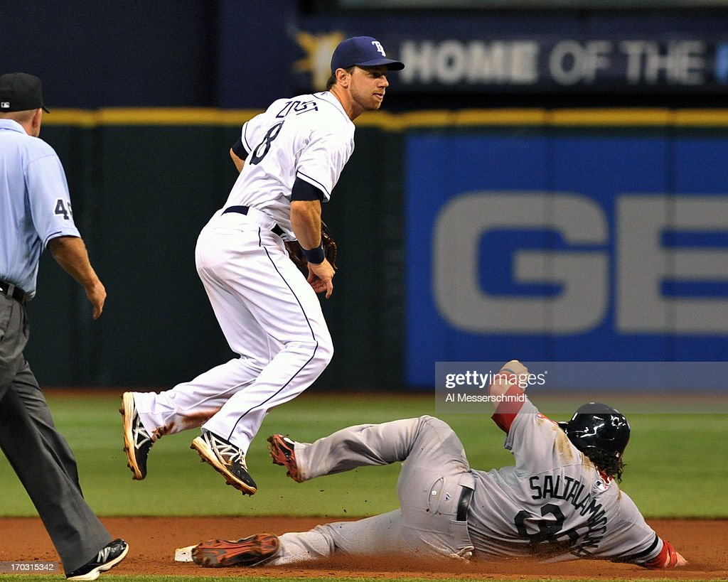Infielder <a gi-track='captionPersonalityLinkClicked' href=/galleries/search?phrase=Ben+Zobrist&family=editorial&specificpeople=2120037 ng-click='$event.stopPropagation()'>Ben Zobrist</a> #18 of the Tampa Bay Rays throws to first base for a double play against <a gi-track='captionPersonalityLinkClicked' href=/galleries/search?phrase=Jarrod+Saltalamacchia&family=editorial&specificpeople=836404 ng-click='$event.stopPropagation()'>Jarrod Saltalamacchia</a> #39 of the Boston Red Sox June 10, 2013 at Tropicana Field in St. Petersburg, Florida.