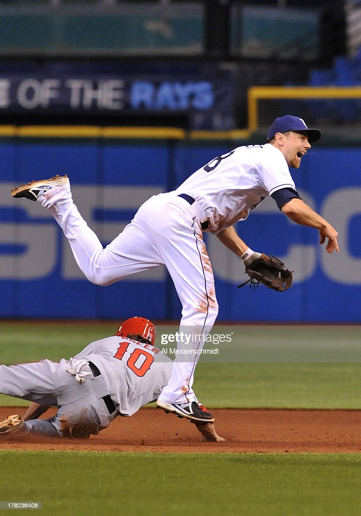 Infielder Ben Zobrist #18 of the Tampa Bay Rays throws to first base for a double play against the Los Angeles Angels August 27, 2013 at Tropicana Field in St. Petersburg, Florida. The Angels won 6 - 5.