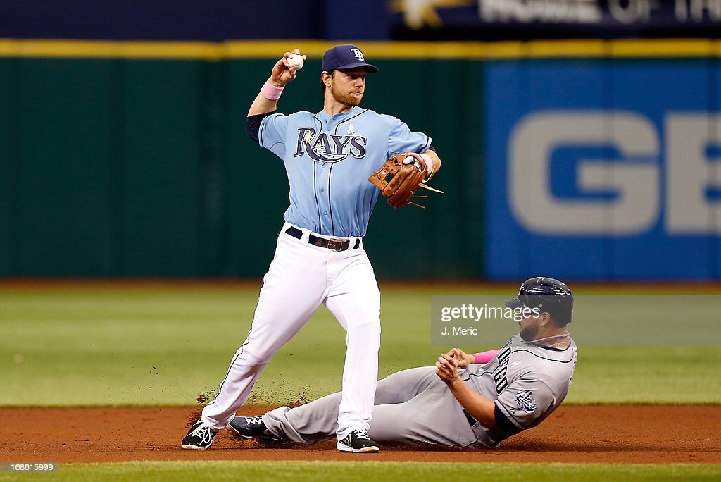 Infielder <a gi-track='captionPersonalityLinkClicked' href=/galleries/search?phrase=Ben+Zobrist&family=editorial&specificpeople=2120037 ng-click='$event.stopPropagation()'>Ben Zobrist</a> #18 of the Tampa Bay Rays turns a double play as <a gi-track='captionPersonalityLinkClicked' href=/galleries/search?phrase=Yonder+Alonso&family=editorial&specificpeople=4424898 ng-click='$event.stopPropagation()'>Yonder Alonso</a> #23 of the San Diego Padres attempts to break it up during the game at Tropicana Field on May 12, 2013 in St. Petersburg, Florida.