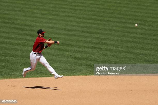 Infielder Brandon Drury of the Arizona Diamondbacks in action during the MLB game against the Colorado Rockies at Chase Field on April 30 2017 in...